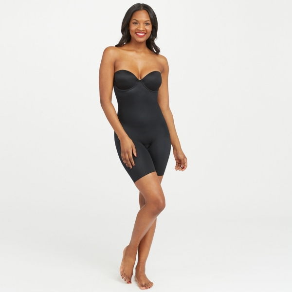 Spanx Suit Your Fancy Strapless Cupped Mid-Thigh Bodysuit Very Black