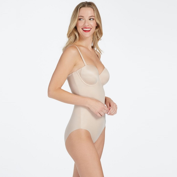 Spanx Suit Your Fancy Strapless Cupped Panty Bodysuit Champagne