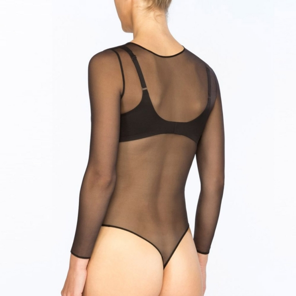 SPANX® Sheer Fashion Mesh Thong Bodysuit Very Black