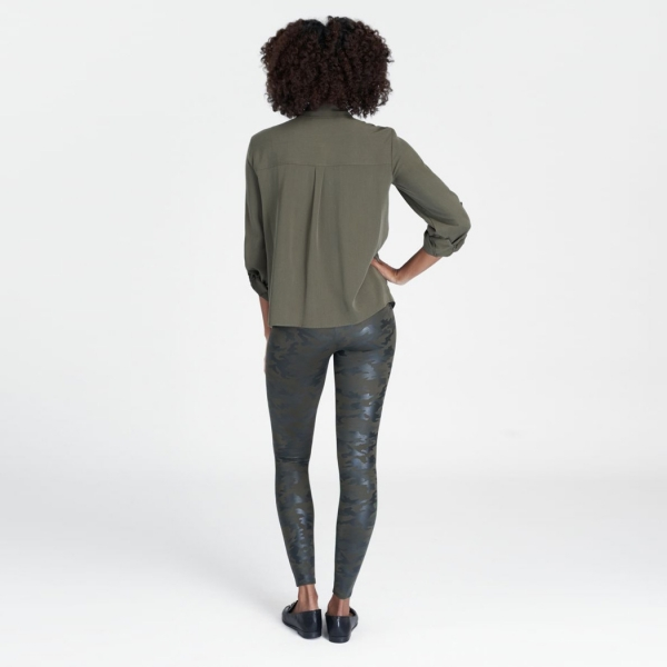 Spanx Faux Leather Camo Leggings Green