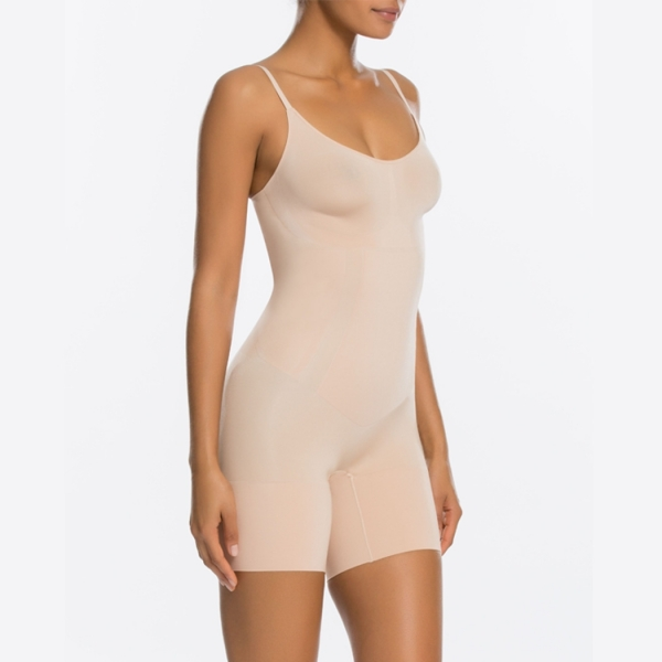 Spanx OnCore Mid-Thigh Bodysuit Soft Nude